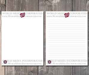 Washington Nationals: MLB Printable Paper & Writing Paper - Instant Download (Fast instant delivery)