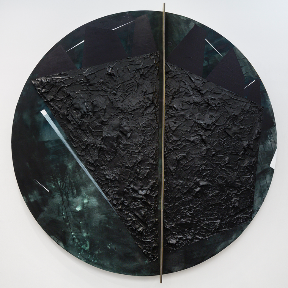 Torkwase Dyson- Plantationocene, 2019, acrylic, graphite, brass, wood, and ink on canvas, 98 inch diameter; at Arthur Ross Architecture Gallery. Part of exhibition 1919: Black Water.
