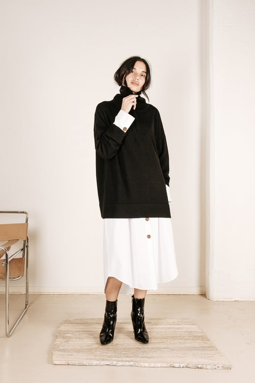 Wool Zip Knit Black