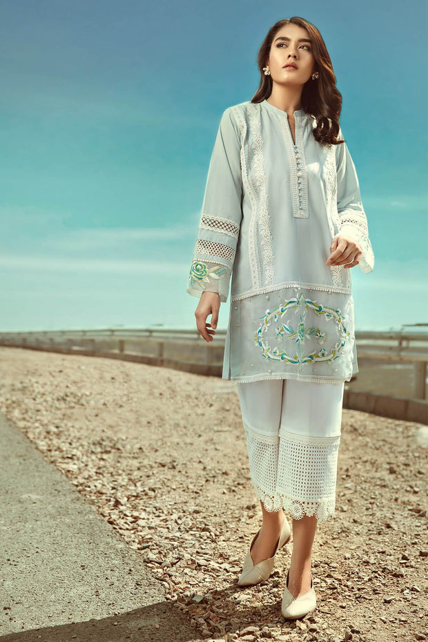 Sky Blue Tunic-RTW-SS1921- REVERIE by Ammara Khan