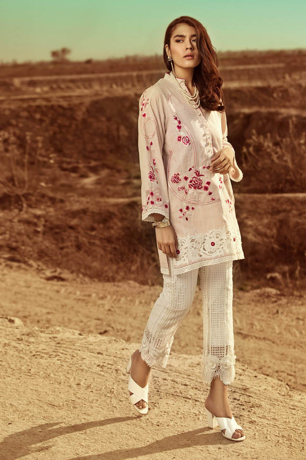 Pale Pink Cotton Shirt- RTW-SS1923-REVERIE by Ammara Khan