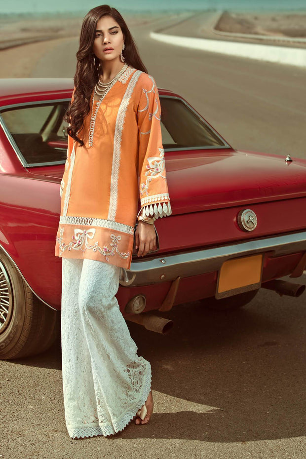 Zesty Spring Orange Tunic- RTW-SS1922-REVERIE by Ammara Khan