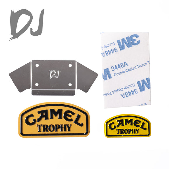 DJ FRONT AND BACK CAMEL TROPHY METAL BADGE LOGO FOR LAND ROVER D110 DEFENDER D90 1:10 RC CRAWLER CAR USE