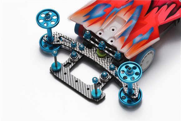 4WDCHINA Homemade 4WD Single Spear Fishtail Carbon Fiber Kit Free Mushroom Head and Spring Washer Silver 4WD-T0034