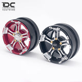 DC RC 1:10 SCALE FDX-J Beadlock 1.9/2.2inch Crawler Metal Wheel 12mm Hex Red/Black For RC Scale Crawler Car (2PCS)