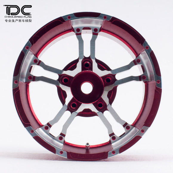 DC RC 1:10 SCALE FDX-J Beadlock 1.9/2.2inch Crawler Metal Wheel 12mm Hex Red/Black For RC Scale Crawler Car (2PCS)DC-50206