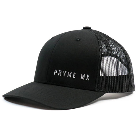 Pryme MX Curved Bill Text Snapback - Black