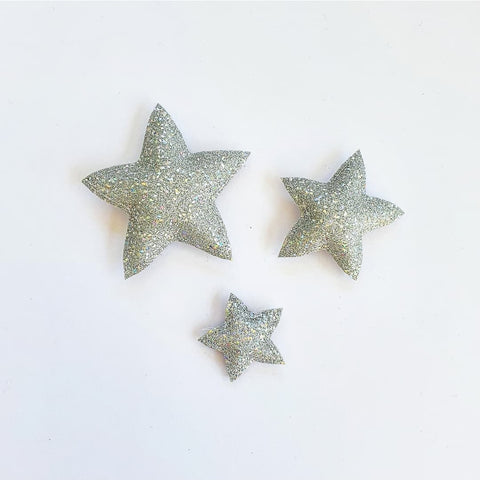 Star Wall Decals © - Silver Holographic Glitter - 3 Pack