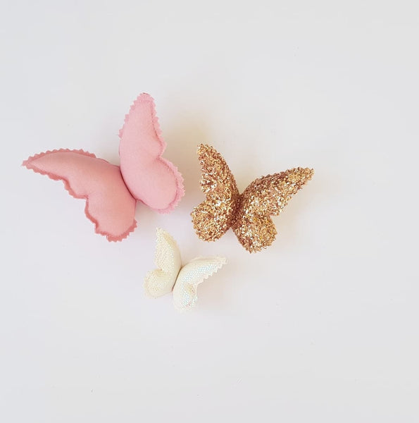 Butterfly Wall Decals © - Rose Shimmer - 3 Pack