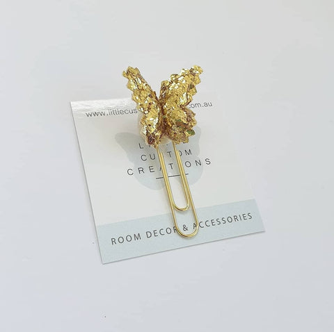 Butterfly Bookmark - Gold Chunky Glitter