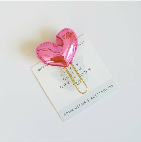 Heart Bookmark - Bright Pink Mirror - READY MADE