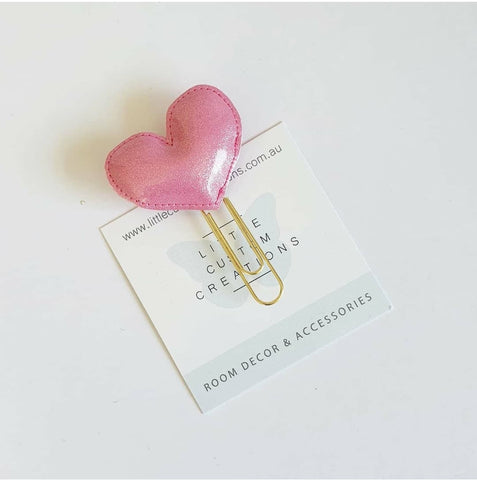 Heart Bookmark - Pink Glitter Leatherette - READY MADE - READY MADE