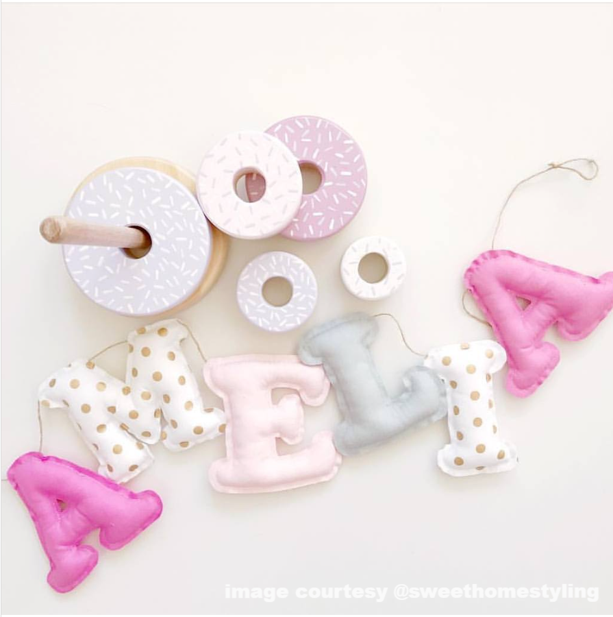 2ea55d989 Personalised Name Bunting - Pink Grey and White – littlecustomcreations