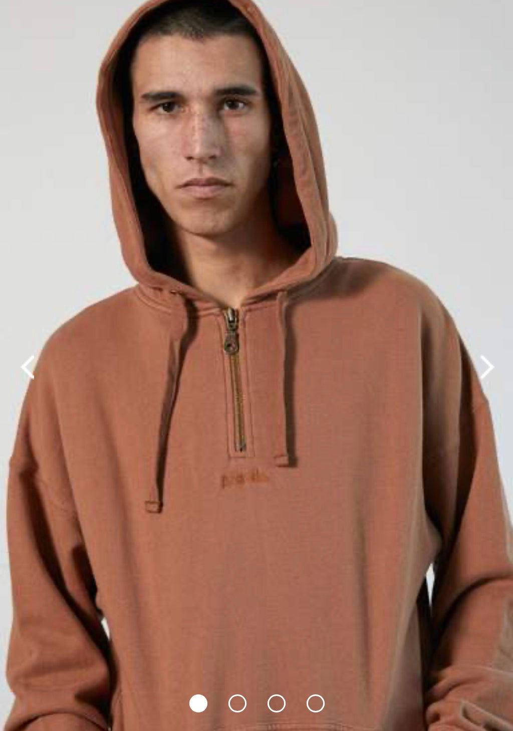 Afends Nylon Half Zip Hood - Clay