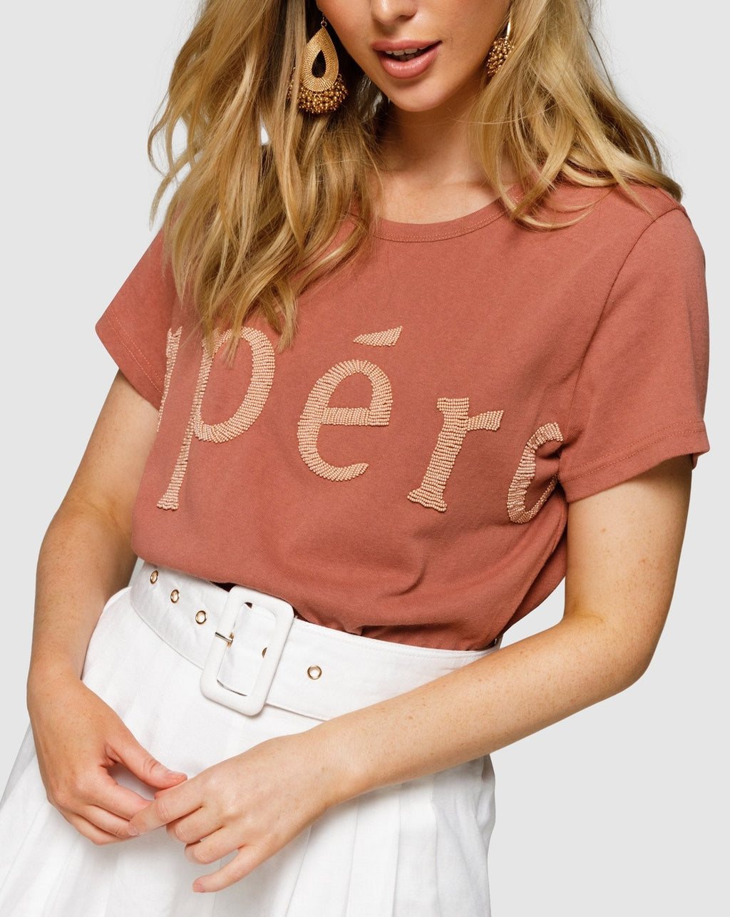 Apéro Forte Beaded Femme Tee - Burnt Rose/Beige Bead