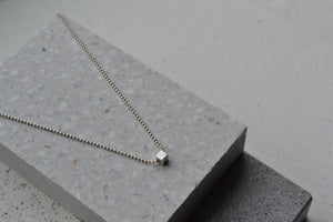 Dainty silver cube neclace, hand crafted minimalist necklace, jewelry made in Sweden