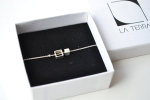 small cube chain bracelet - silver