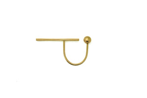 Long bar orb open ring - 18k gold