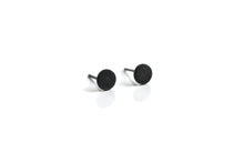 Circular disk stud earrings - Oxidized silver