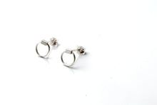 Dainty hoop cuboid stud earrings - silver