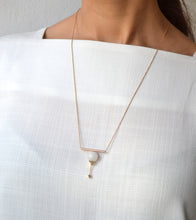 Agate geo bar necklace - 18k gold