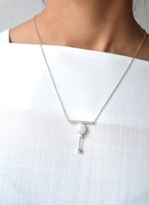 Agate Geo bar necklace - Silver