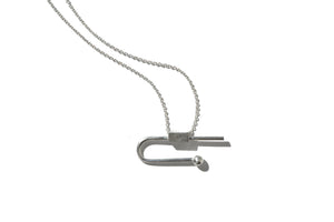 Dainty geometric balance necklace - Silver