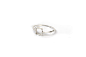 Square outline ring - Silver