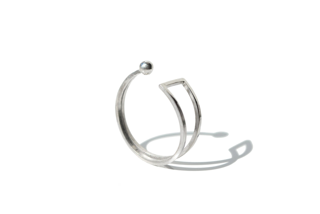 Bar sphere ring - Silver