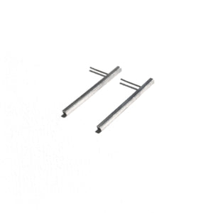 Long slim bar earrings - Silver