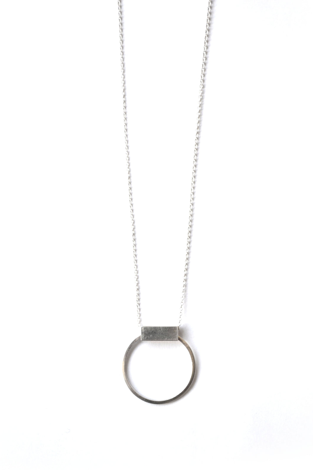 Rectangle hoop ring necklace - Silver