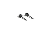 Small square outline stud earring - Oxidized silver