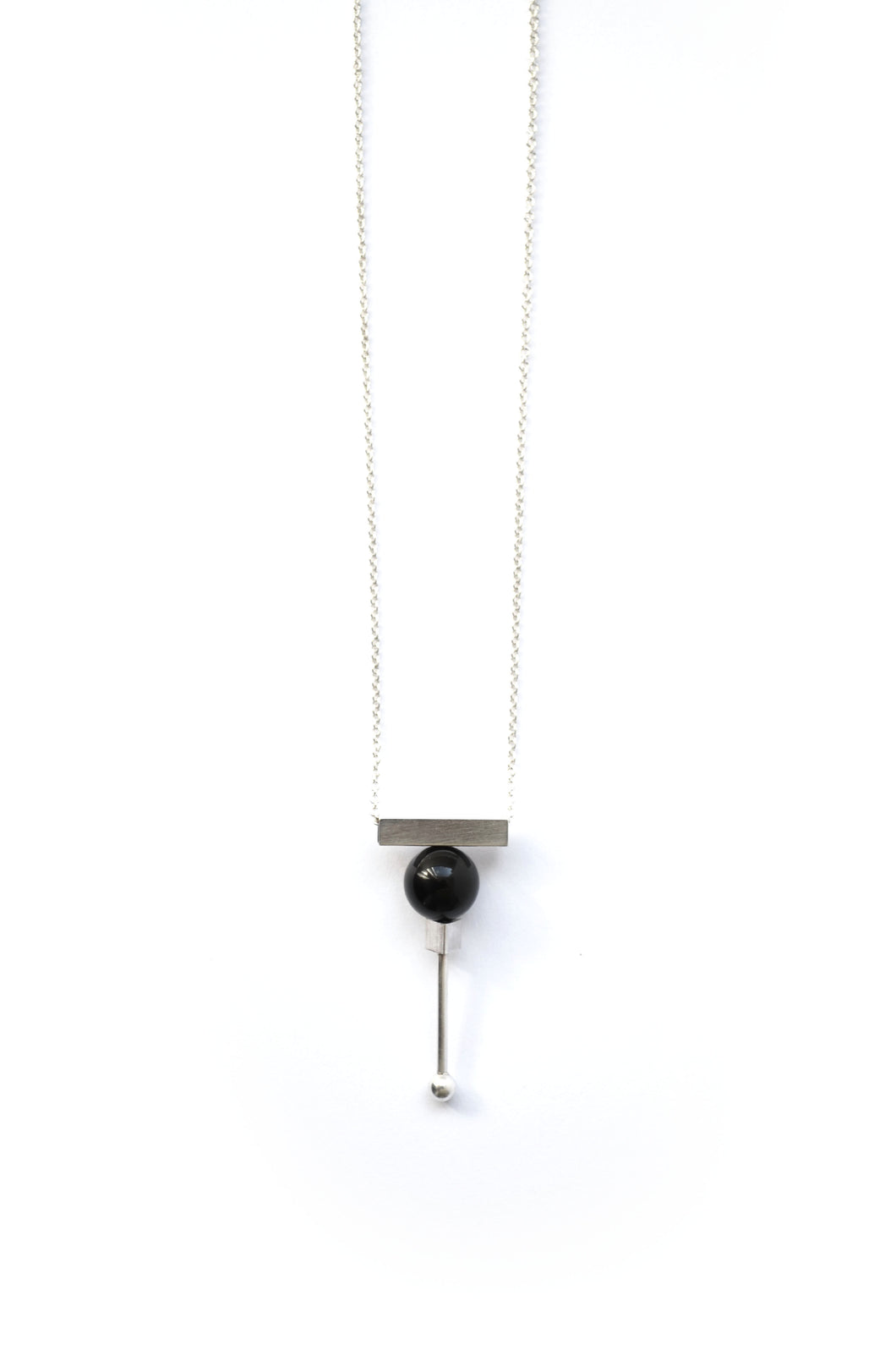 Geo onyx bar necklace - Silver