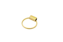 Rectangle hoop ring necklace - 18K gold
