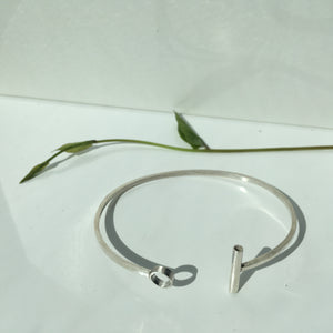 Geometric bar and circle cuff - silver