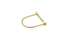 Bar orb open ring - 18k gold
