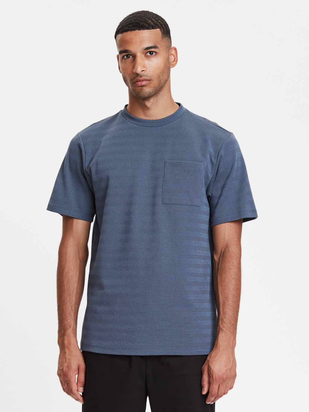 Faro Pocket T-Shirt | Blue Herringbone