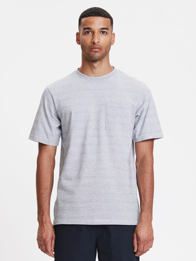 Faro Pocket T-Shirt | White Striped