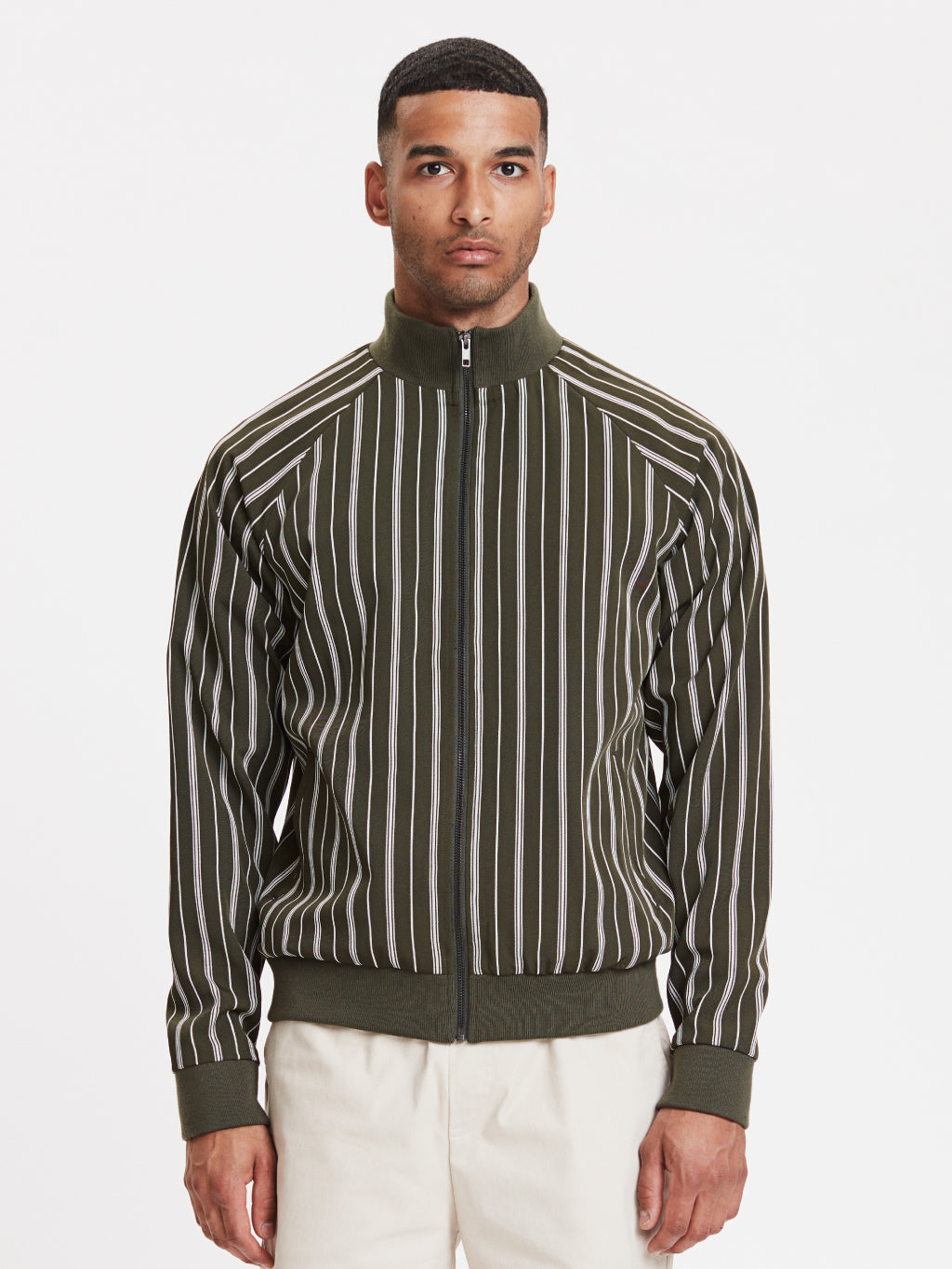 Balboa Track Jacket | Striped Olive