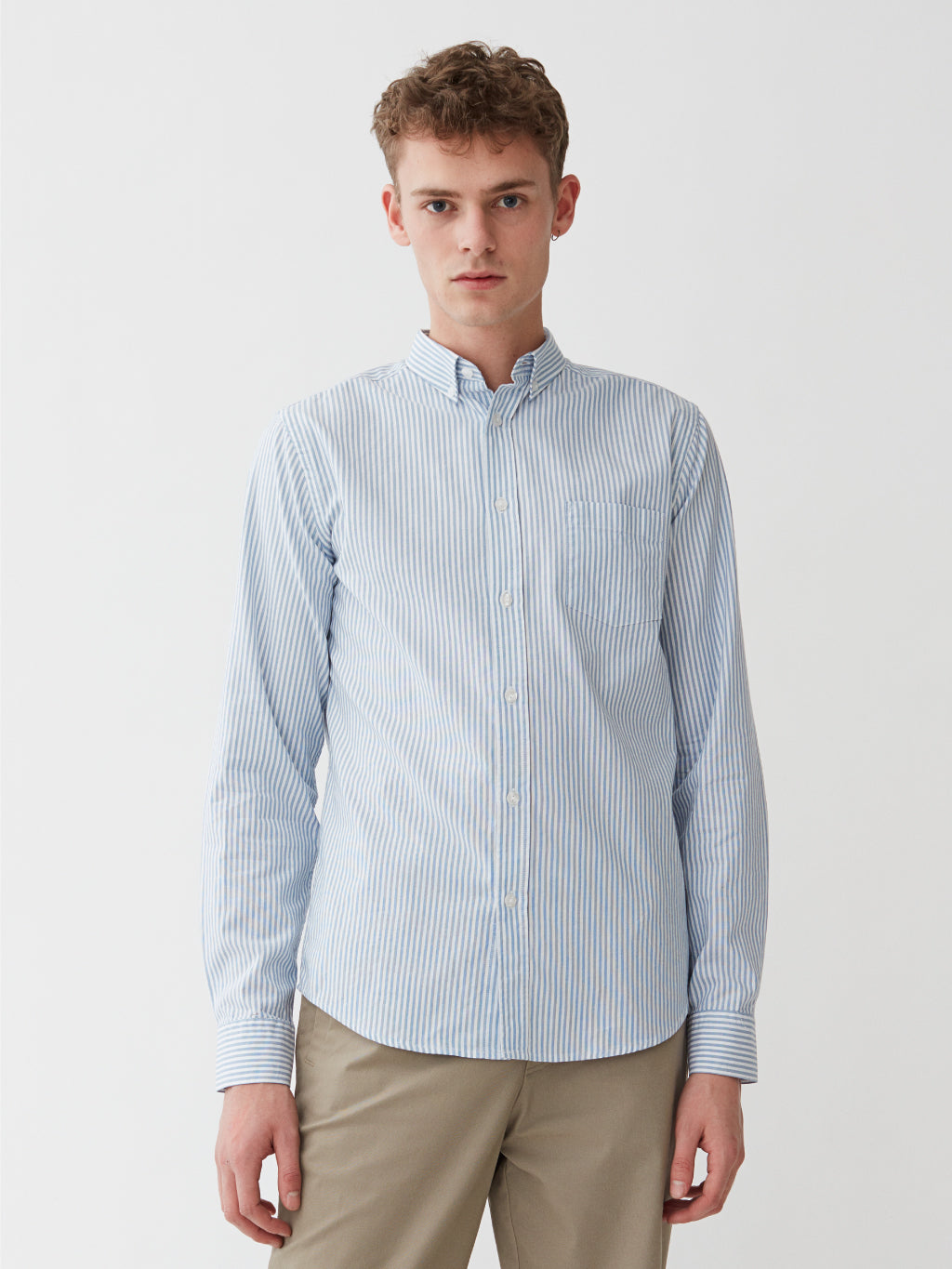 Ocean Oxford Shirt | Light Blue Striped