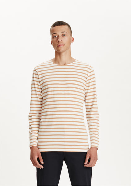 Legends Men's White Tan Striped Travis Long Sleeve T-shirt