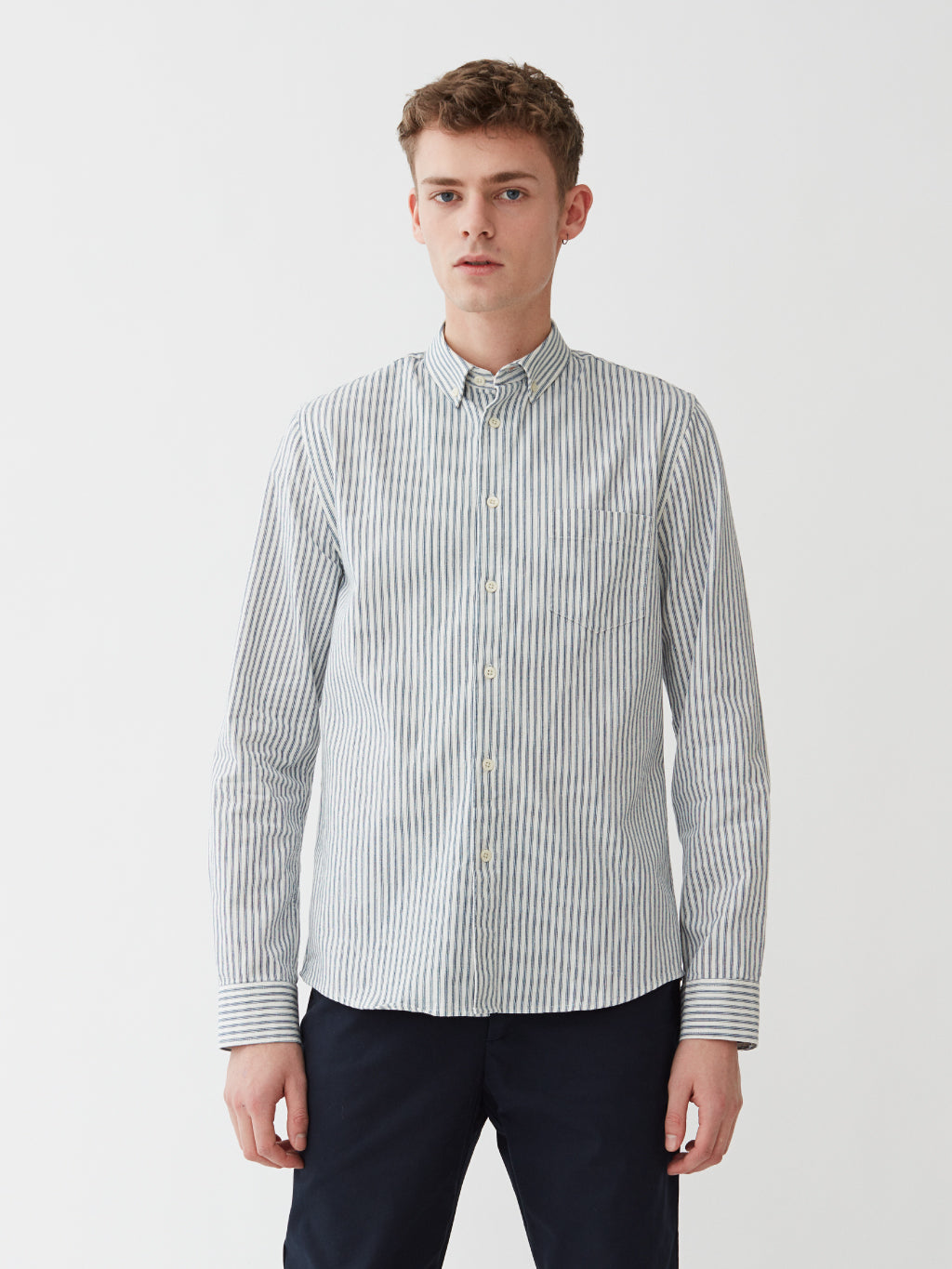 Century Shirt | White Blue Stripe
