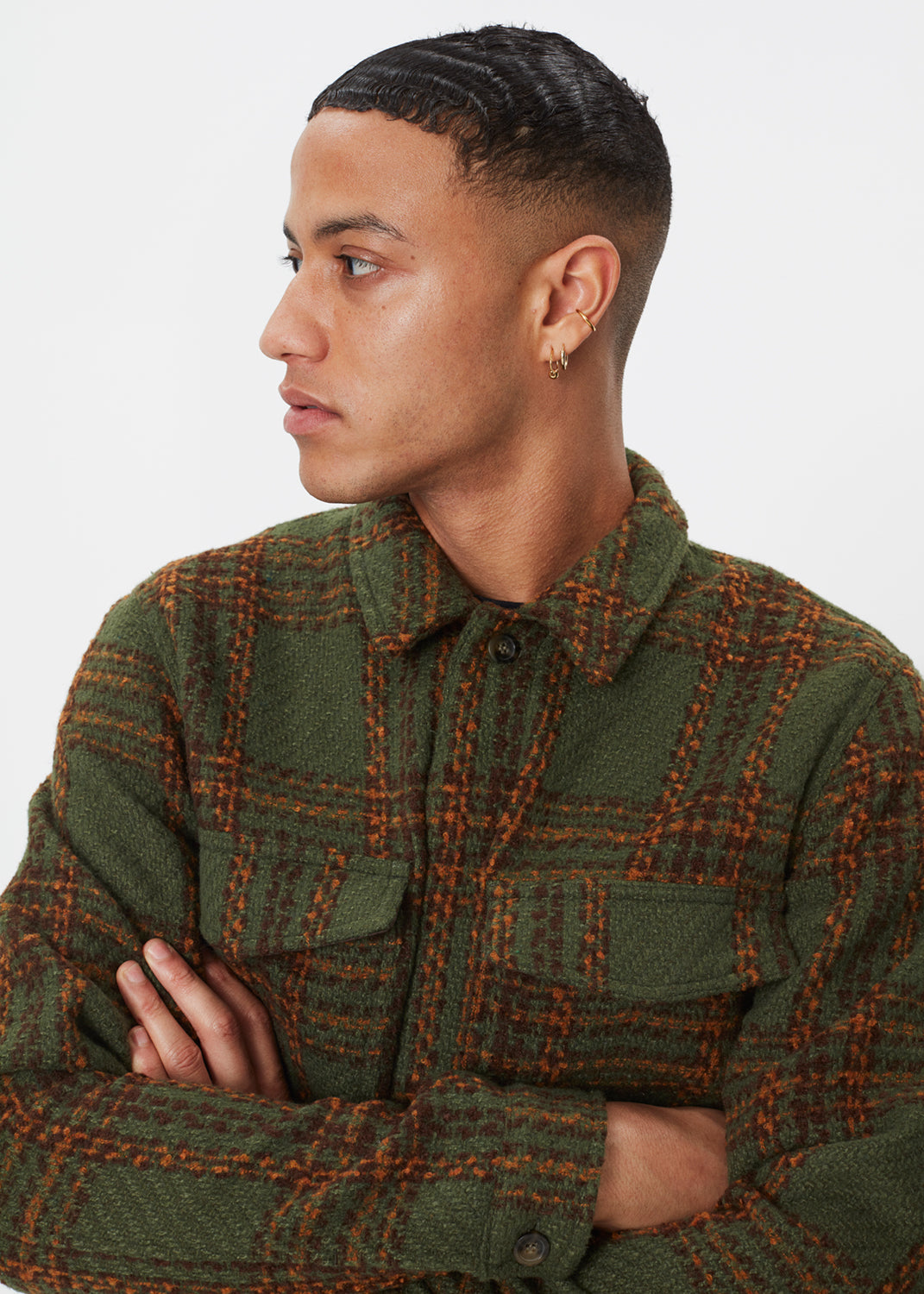 Baton Wool Jacket | Olive Check