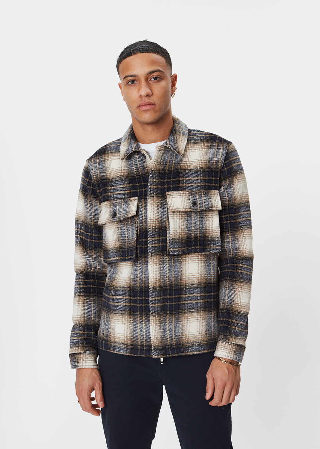 Monterey Overshirt | Beige & Blue Check