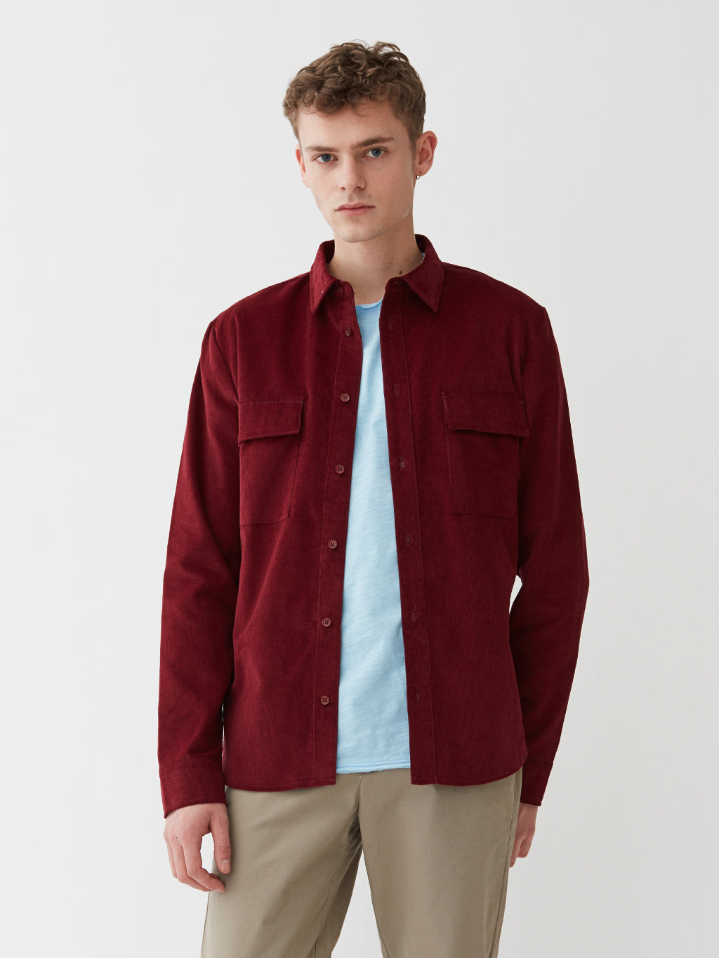 Amalfi Cord Shirt | Red Wine