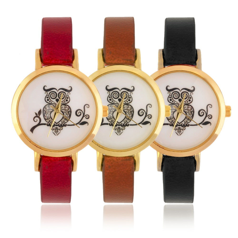 Unisex Silicon Band Cute Owl Round Wrist Watch