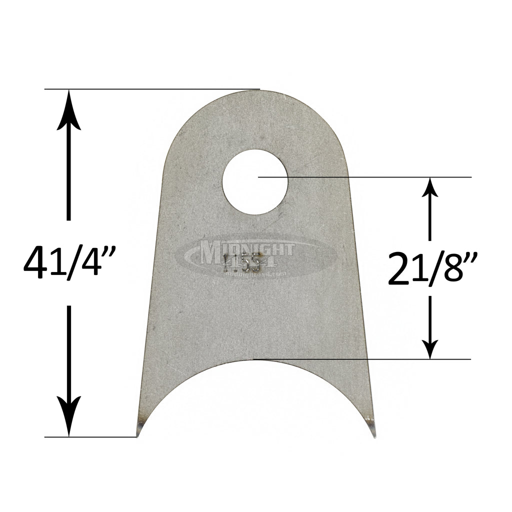 "1/4"" thick tab, 3/4"" hole, 4 1/4"" tall, tab, radius mount"