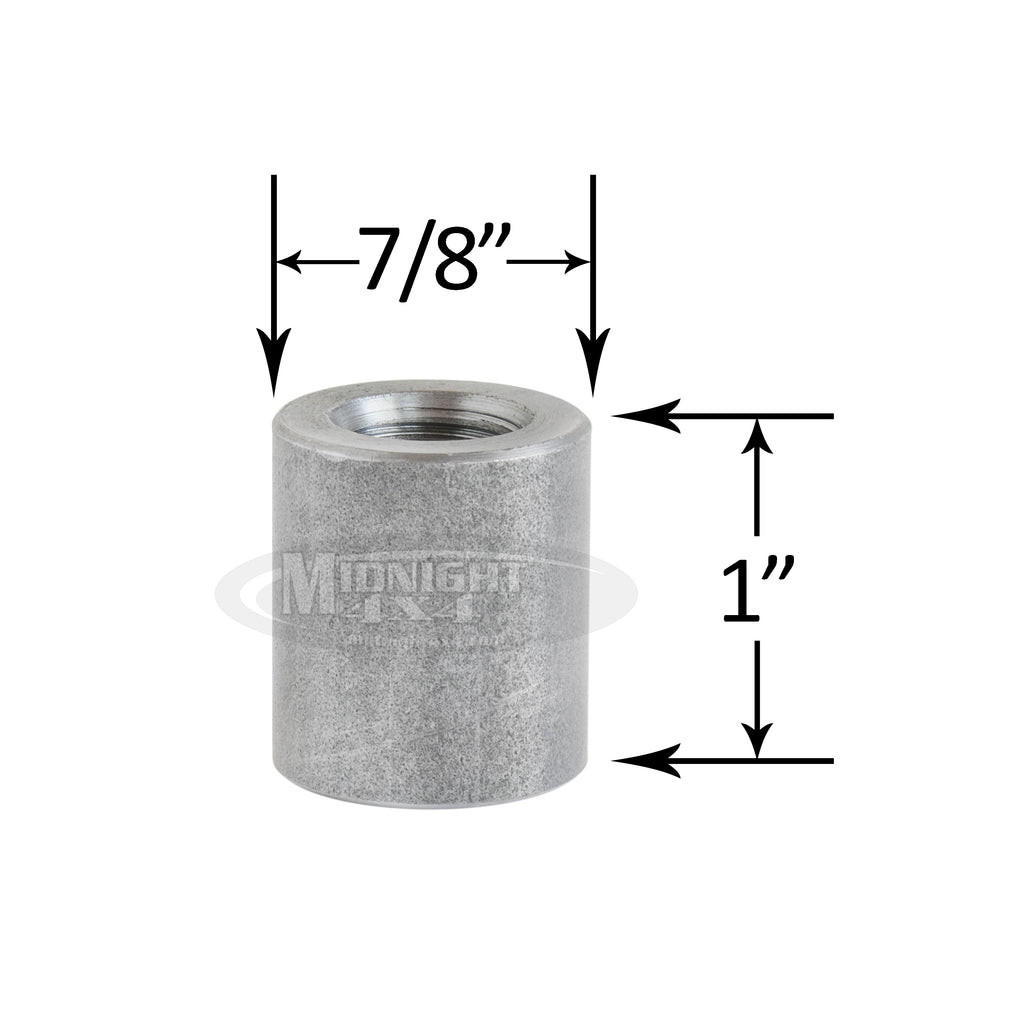 "Universal Threaded Bushing, Fits 1/2"" Bolt, 7/8"" OD, 1"" Tall, Midnight 4x4"
