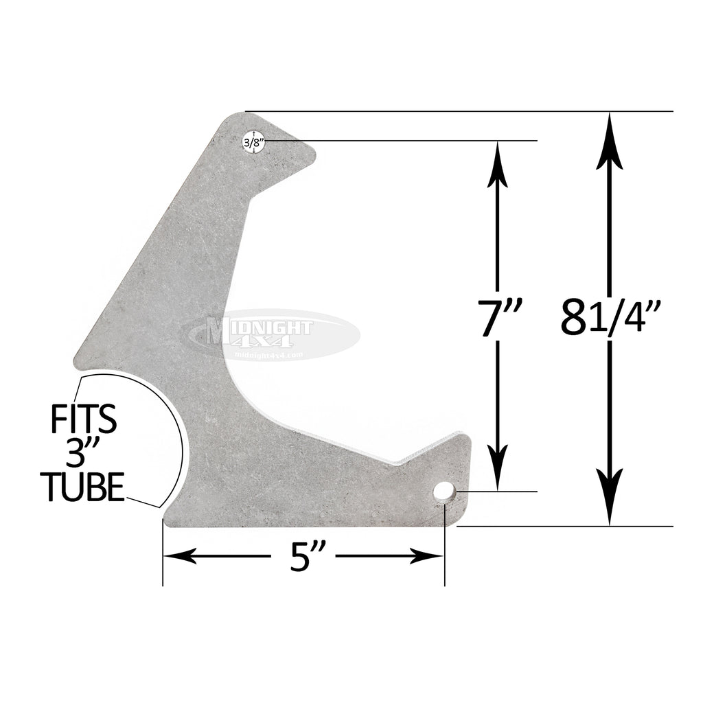 "Rear GM style caliper bracket, Camaro style caliper bracket, 3/8"" thick, fits 3"" tube, Midnight 4x4"