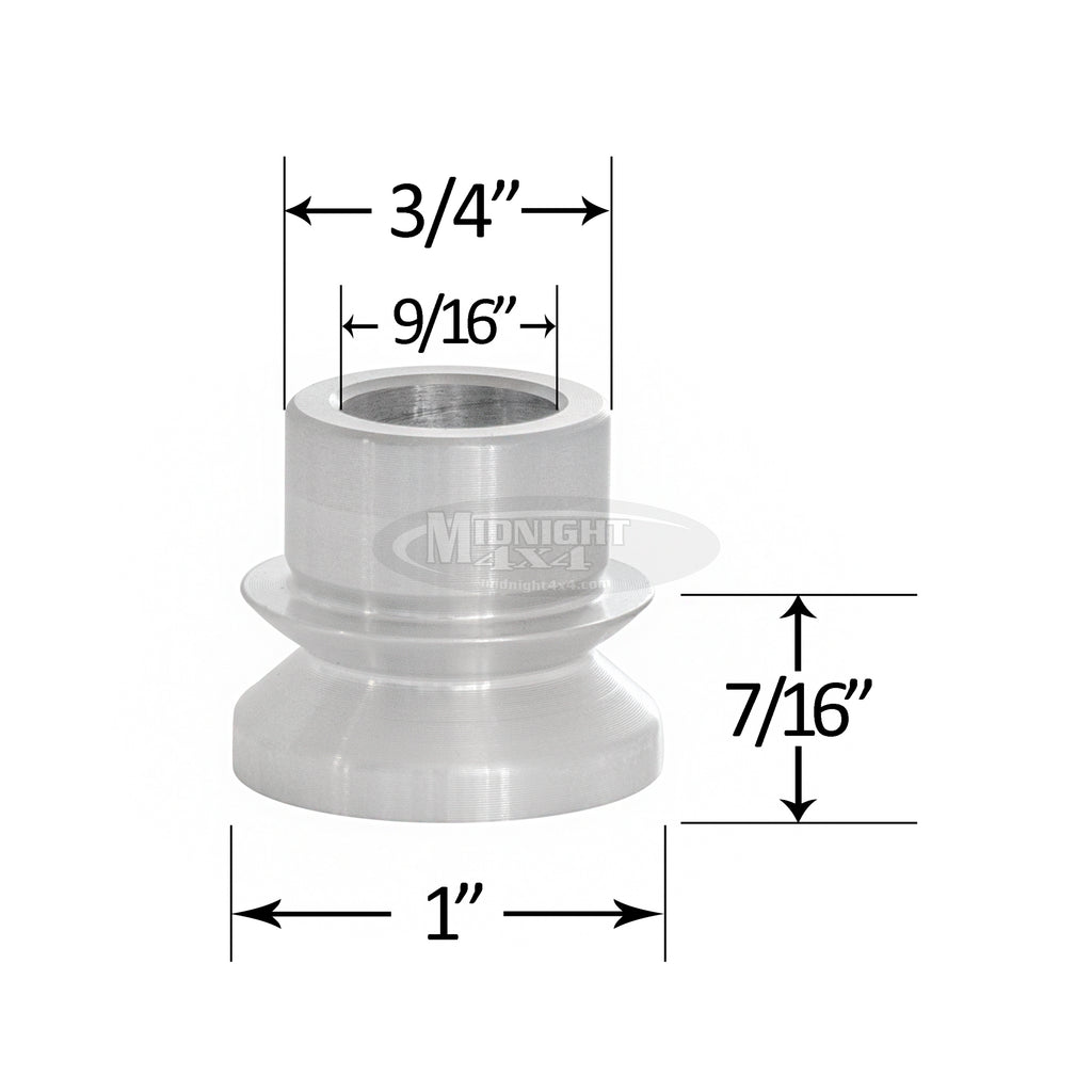 "3/4"" High Misalignment Spacer, 9/16"" Bolt, 1-3/4"" Full Mount Width, Heim Spacer, Midnight 4x4"